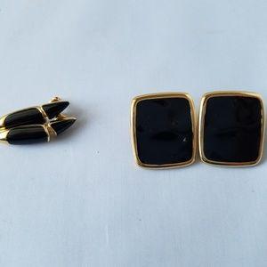 Monet Vintage Signed Gold Black Enamel Earrings